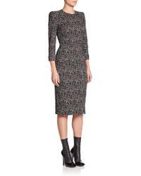 Alexander McQueen Zip-Detail Tweed Dress black - Lyst