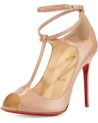 Christian Louboutin Talitha Patent T-strap Red Sole Pump - Lyst