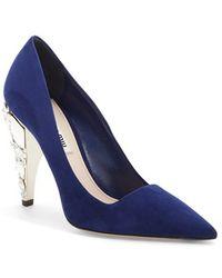 Miu Miu Jeweled Heel Pointy Toe Pump blue - Lyst