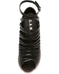 L.A.M.B. - Bobbi Cage Sandals - Black - Lyst