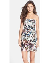 Nicole Miller Fitted Floral-Print Lace Dress multicolor - Lyst