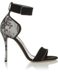 Nicholas Kirkwood Suede Lace and Satin Sandals - Lyst
