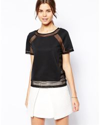 Asos Top in Scuba with Mesh Inserts - Lyst