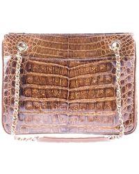 Chanel   Pre-owned: Vintage Brown Crocodile Tote Shoulder Bag   Lyst