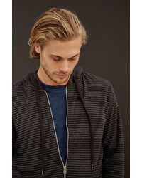 Velvet By Graham & Spencer Carlisle Stripe Double Fold Zip-Up Hoodie gray - Lyst