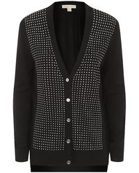 Michael by Michael Kors Gray Crystalembellished Cardigan - Lyst