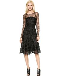 Nina Ricci Long Sleeve Lace Dress - Black - Lyst