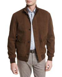 Ermenegildo Zegna   Full-grain Suede Button-down Jacket   Lyst