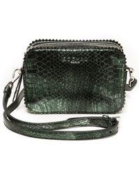 Rochas Embossed Metallic Shoulder Bag  Bottle Green - Lyst