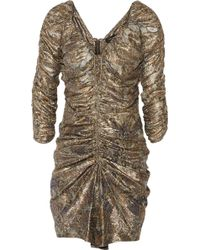 Isabel Marant - Paralyn Ruched Metallic Silk-blend Dress - Lyst