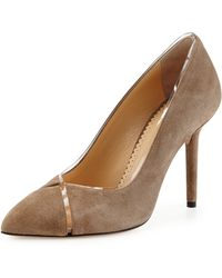 Charlotte Olympia Natalie Suede Crisscross Pump - Lyst