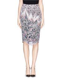 Peter Pilotto 'Vector' Floral Appliqué Silk Pencil Skirt - Lyst