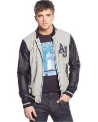 Armani Jeans Aj Mixed-Media Varsity Jacket - Lyst