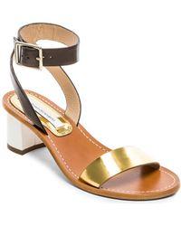 Diane von Furstenberg Gold Cami Sandal - Lyst
