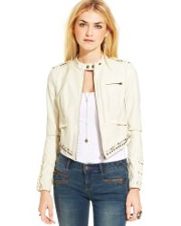 Free People Fauxleather Studded Motorcycle Jacket - Lyst