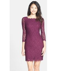 Adrianna Papell Long Sleeve Lace Sheath Dress purple - Lyst