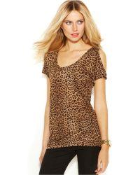 Michael Kors Michael Cold-Shoulder Leopard-Print Top - Lyst