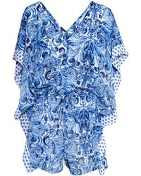 H&M Blue Patterned Playsuit - Lyst