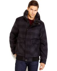 Joseph Abboud Black  Charcoal Plaid Real Fur Trim Bomber Jacket - Lyst