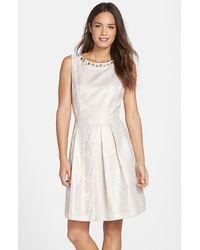 Tahari Embellished Jacquard Fit and Flare Dress - Lyst
