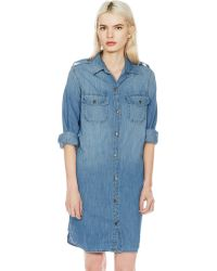 Current/Elliott The Perfect Shirt Dress blue - Lyst