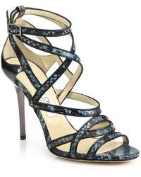 Jimmy Choo Vargo Snakeskin & Leather Sandals blue - Lyst