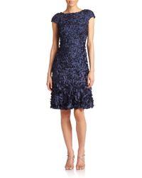 Theia Beaded Petal Dress - Lyst