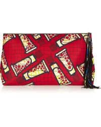 Atelier Vlisco  Xxl Leather-trimmed Printed Scuba-jersey Clutch - Lyst
