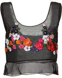 Alberta Ferretti Silk Embroidered Crop Top - Lyst