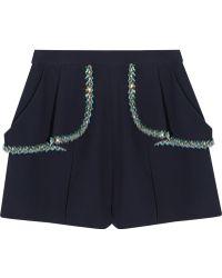 Miu Miu Embellished Crepe Shorts - Lyst