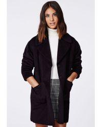 Missguided Lena Oversize Cocoon Coat Black - Lyst