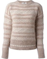Jil Sander Striped Crew Neck Jumper - Lyst