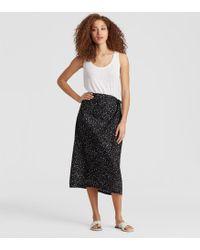 Eileen Fisher - Dot-printed Organic Cotton Sarong Skirt - Lyst