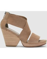26ad01c281dba Lyst - Eileen Fisher Draw Suede Wedge Sandal in Gray