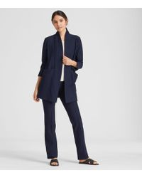 Eileen Fisher - Washable Stretch Crepe Long Kimono Jacket - Lyst