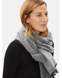 Eileen Fisher - Brushed Recycled Cotton Herringbone Scarf - Lyst