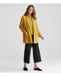 Eileen Fisher - Boiled Wool Jersey Shawl Collar Long Jacket - Lyst
