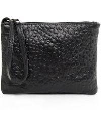 Eileen Fisher - Pebbled Italian Leather Zip Pouch Wristlet - Lyst