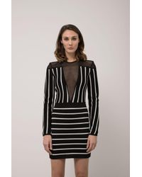 Balmain - Long-sleeve Striped Short Cocktail Dress With Mesh Inset - Lyst