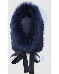 El Corte Inglés - Navy Blue Natural Fur Cowl With Bow - Lyst