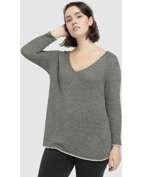 Couchel - Plus Size Khaki Jumper With Trim On The Neckline - Lyst