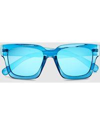 El Corte Inglés - Wo Square Blue Resin Sunglasses - Lyst