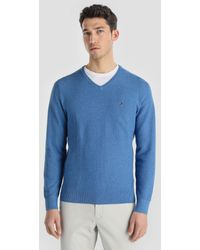 Tommy Hilfiger - Blue V-neck Sweater - Lyst
