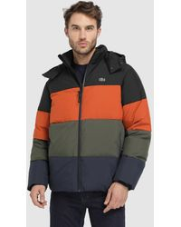 f2d3f16fd Lacoste - Multicoloured Hooded Quilted Coat - Lyst