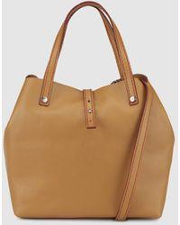 Gloria Ortiz - Mini Sofia Plain Brown Leather Shopper Bag With Metallic Appliqués - Lyst