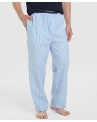 GANT - Long Blue Fabric Pyjama Bottoms - Lyst