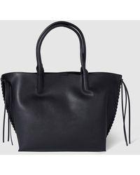 El Corte Inglés - Large Black Shopper Bag With Side Plaiting - Lyst