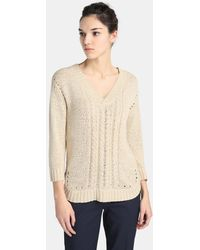 Zendra El Corte Inglés - El Corte Inglés Zendra Jumper With French Sleeves And Cable Stitch - Lyst
