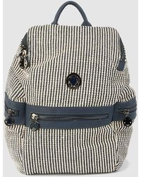 2b7bcfb4cc9 Caminatta - Navy Blue Striped Fabric Backpack With Metallic Logo - Lyst