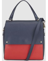 Gloria Ortiz - Meg Two-tone Navy Blue And Red Small Leather Handbag With Flap - Lyst